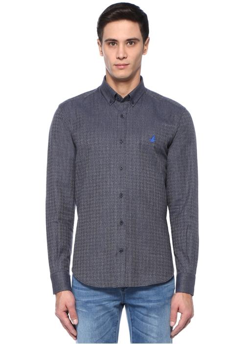 Comfort Fit Mavi Düğmeli Yaka Muline Gömlek