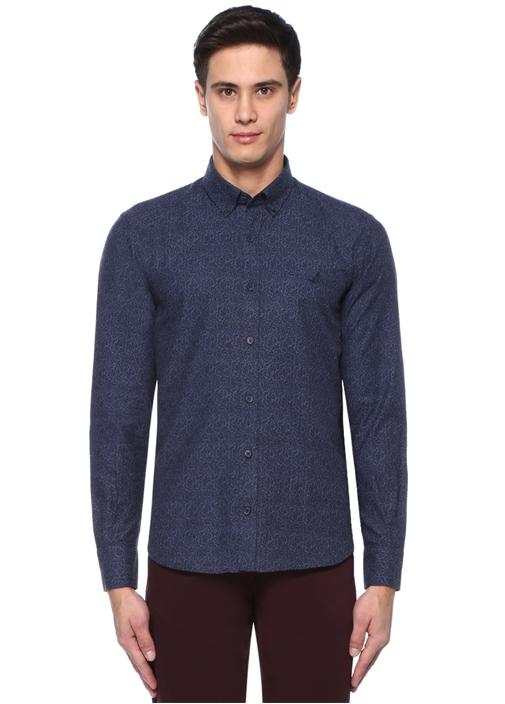 Comfort Fit Lacivert Düğmeli Yaka Baskılı Gömlek