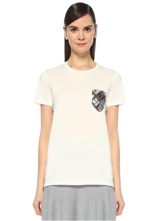 Beyaz Bisiklet Yaka Cebi İşleme DetaylıT-shirt