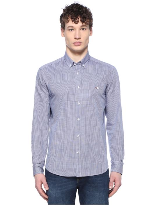 Comfort Fit Beyaz Mavi Pötikareli Gömlek
