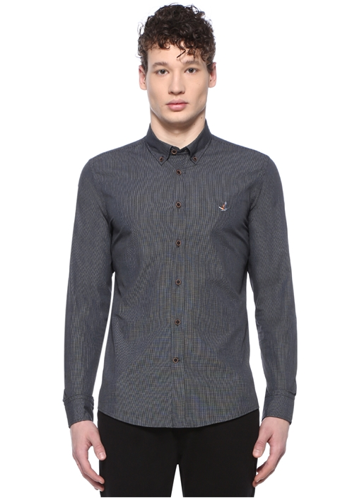 Slim Fit Siyah Mikro Desenli Düğmeli Yaka Gömlek