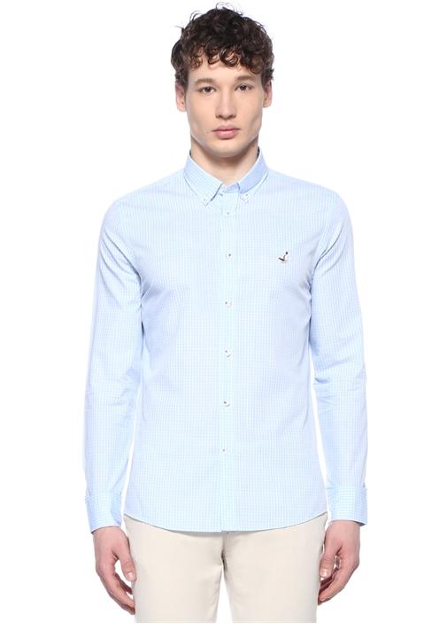 Slim Fit Mavi Logo Nakışlı Kareli Gömlek