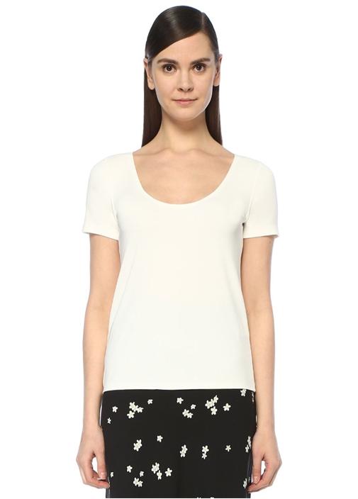 Beyaz U Yaka Dikişsiz Kısa Kol T-shirt