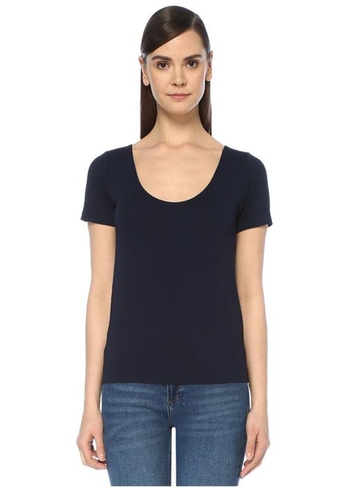 Lacivert U Yaka Dikişsiz Kısa Kol T-shirt