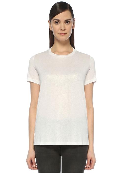 Beyaz Bisiklet Yaka T-shirt