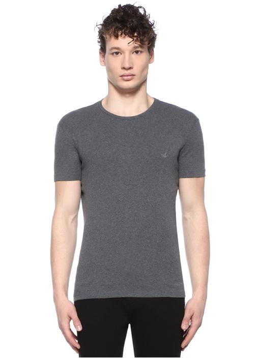 Gri Mavi Logolu 2li T-shirt Seti