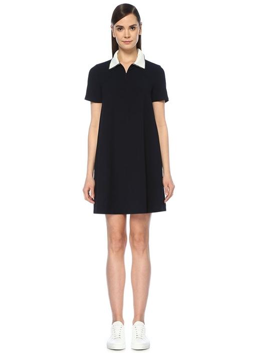 Siyah Beyaz İşlemeli Triko Yaka Mini Krep Elbise