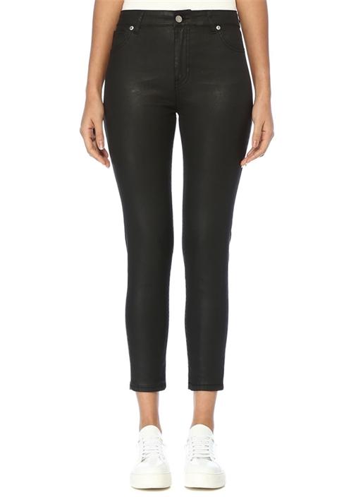 Siyah Normal Bel Dar Paça Suni Deri Pantolon