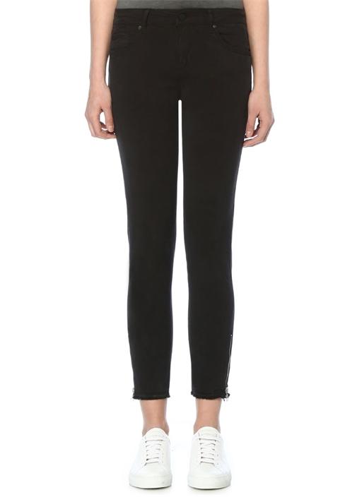 Siyah Paçası Fermuarlı Skinny Spor Pantolon