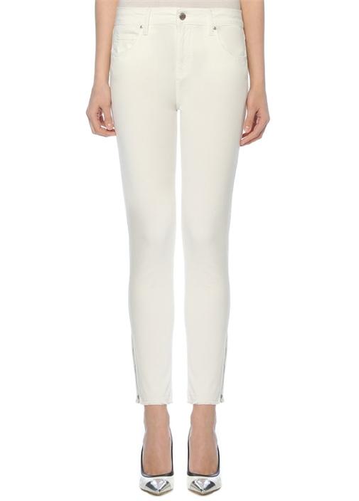 Beyaz Paçası Fermuarlı Parça Boya Spor Pantolon