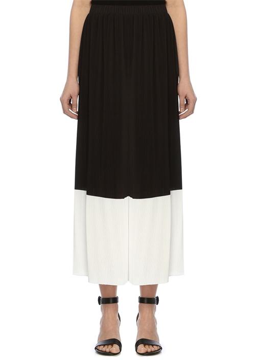 Siyah Beyaz Bloklu Yüksek Bel Pileli Bol Pantolon