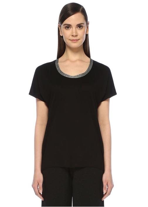 Siyah U Yaka Simli Triko Bantlı T-shirt