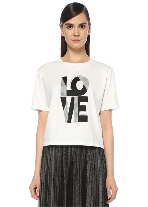 Beyaz Taşlı Love Baskılı Düşük Kol T-shirt