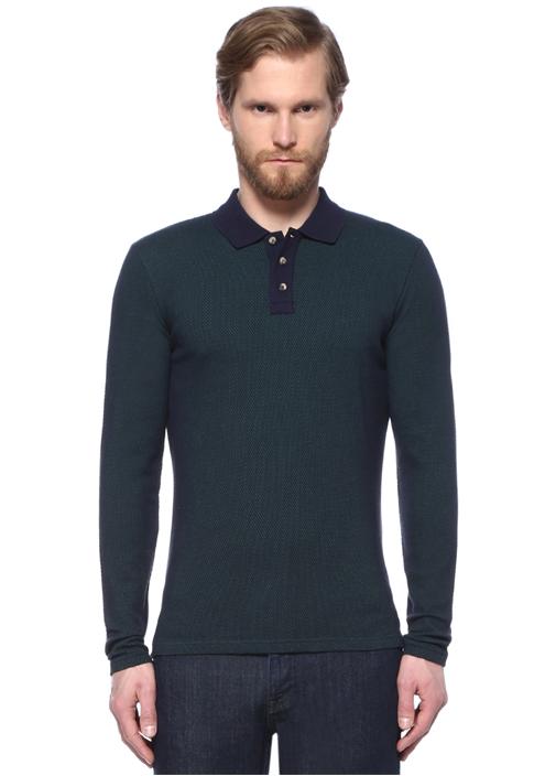 Lacivert Polo Yaka Sweatshirt