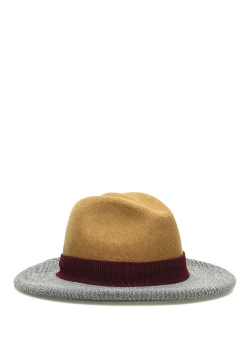 Taba Gri Rib Detaylı Kadın Yün Şapka