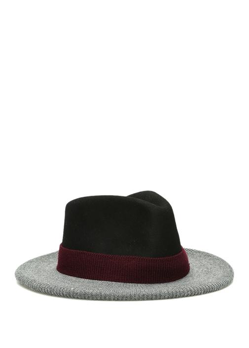 Siyah Gri Rib Detaylı Kadın Yün Şapka