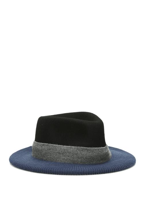 Siyah Lacivert Rib Detaylı Kadın Yün Şapka
