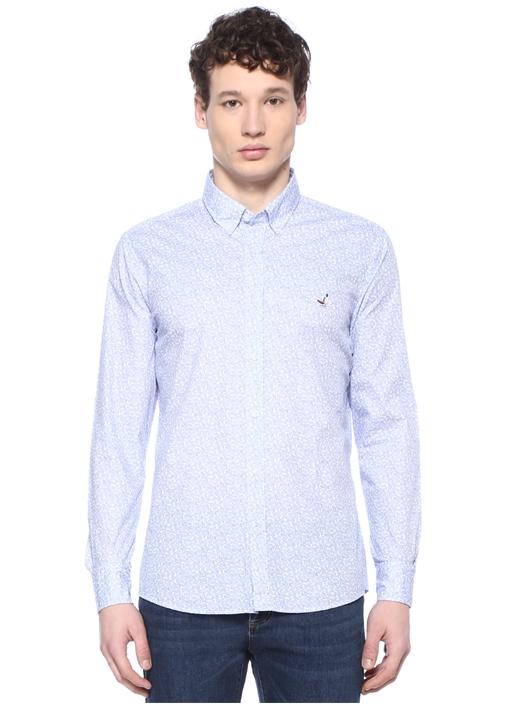 Slim Fit Mavi Beyaz Mikro Şal Desenli Gömlek