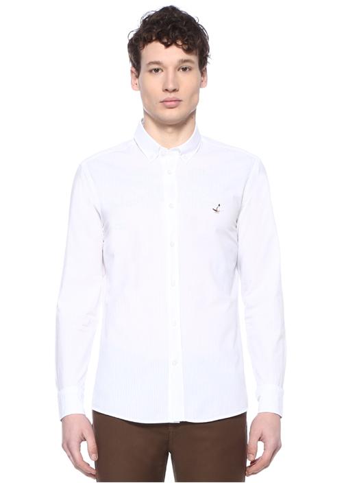 Slim Fit Beyaz Çizgi Dokulu Düğmeli Yaka Gömlek