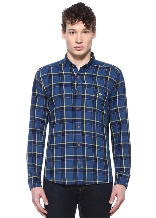 Comfort Fit Beyaz Mavi Kareli Gömlek