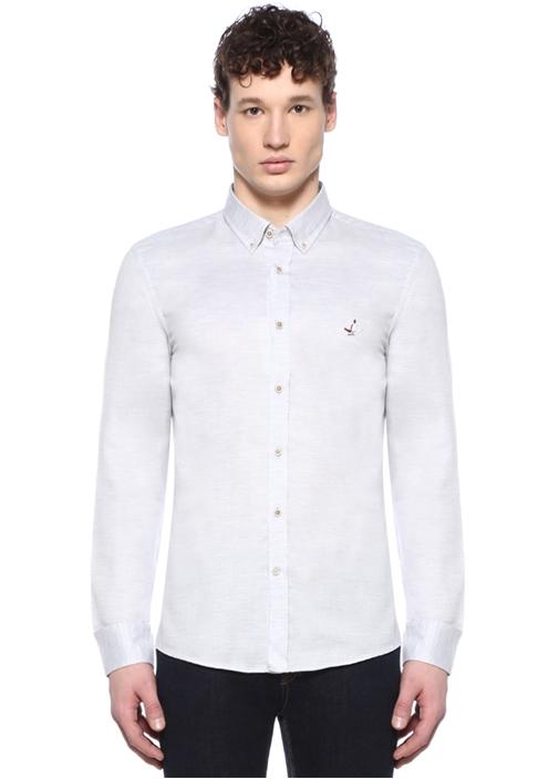 Slim Fit Gri Düğmeli Yaka Logolu Gömlek