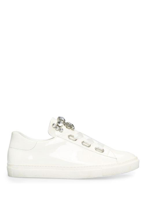 Beyaz Taş İşleme Detaylı Kadın Deri Sneaker
