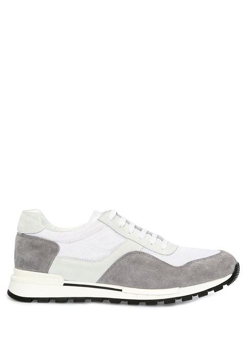Beyaz Gri Garnili Erkek Deri Sneaker