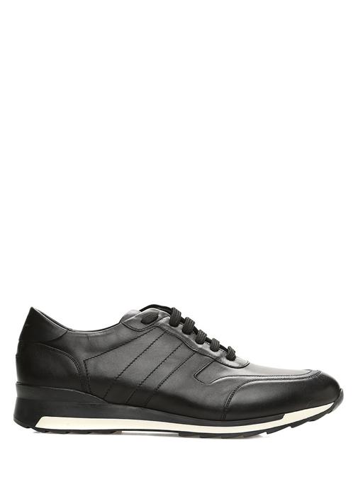 Siyah Dikiş Detaylı Erkek Deri Sneaker