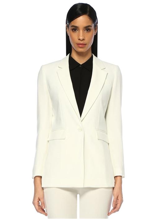 Beyaz Kelebek Yaka Tek Düğmeli Krep Blazer Ceket