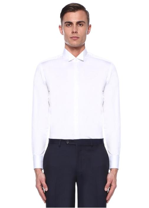 Slim Fit Beyaz Ata Yaka Smokin Gömleği