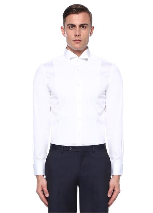 Slim Fit Beyaz Garnili Ata Yaka Smokin Gömleği