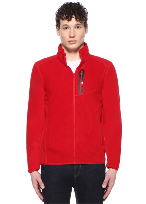 Kırmızı Dik Yaka Dokulu Sweatshirt