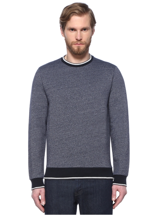 Mavi Rib Detaylı Sweatshirt