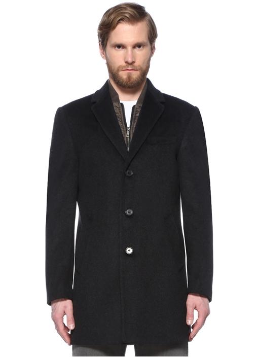 Antrasit İç Yaka Detaylı Yün Palto