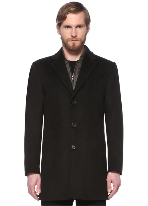 Siyah İç Yaka Detaylı Yün Palto
