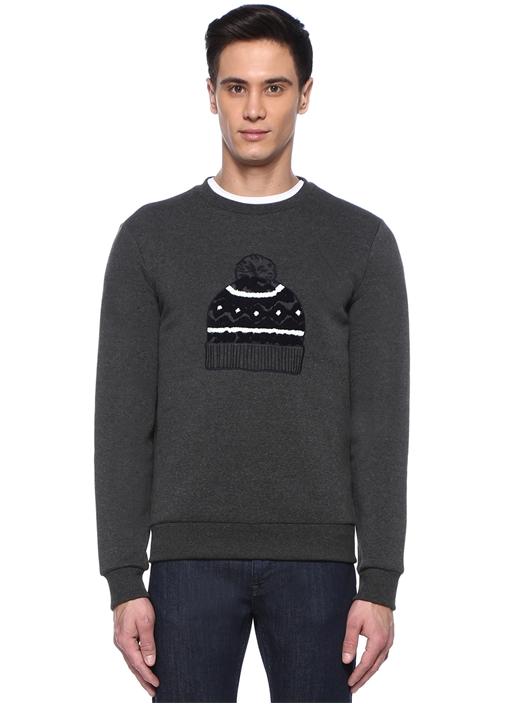 Antrasit Bere Nakışlı Sweatshirt