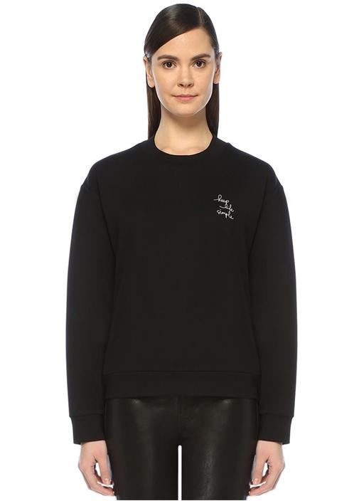 Keep Life Simple Siyah Baskılı Sweatshirt