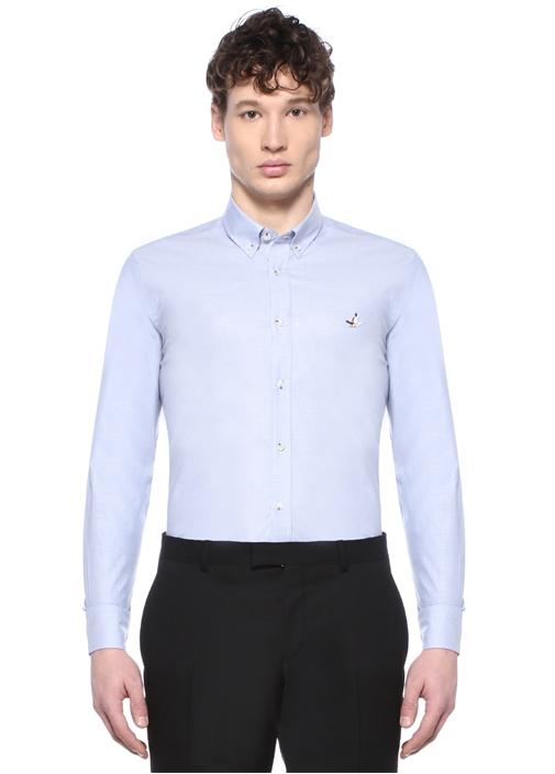 Slim Fit Mavi Düğmeli Yaka Desenli Gömlek