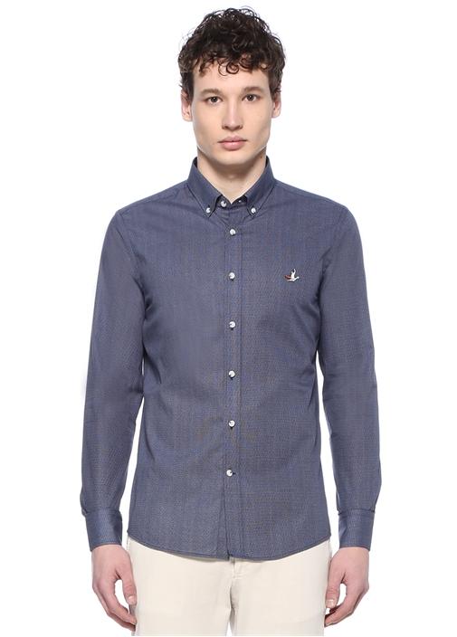 Slim Fit Lacivert Düğmeli Yaka Desenli Gömlek