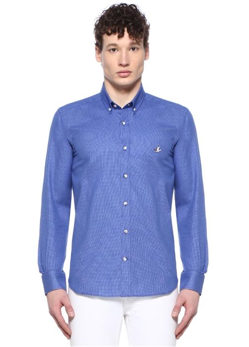 Comfort Fit Lacivert Düğmeli Yaka Armürlü Gömlek