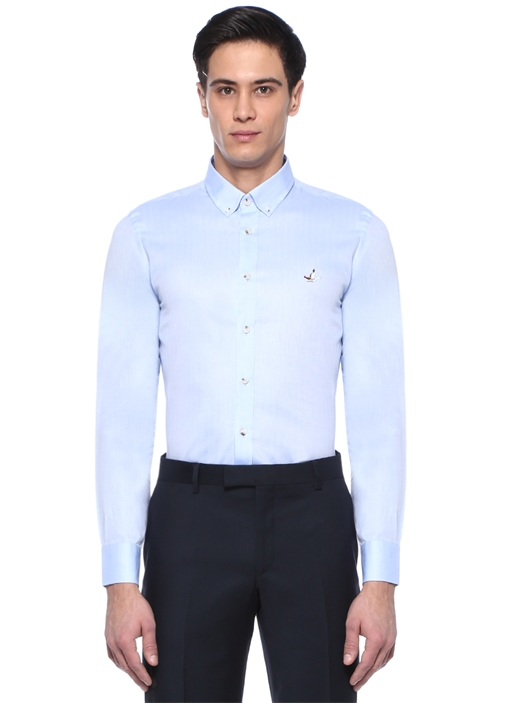 Slim Fit Mavi Düğmeli Yaka Kuş Logolu Gömlek