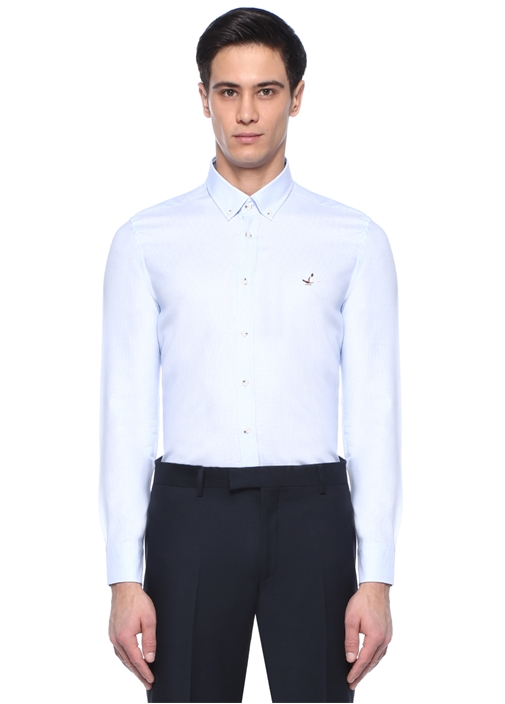 Slim Fit Mavi Küp Armürlü Gömlek