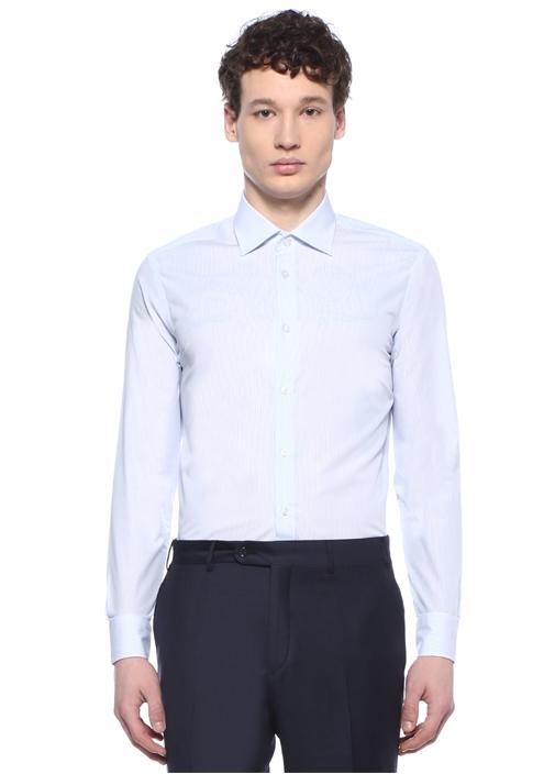 Non Iron Slim Fit Mavi Çizgili Gömlek