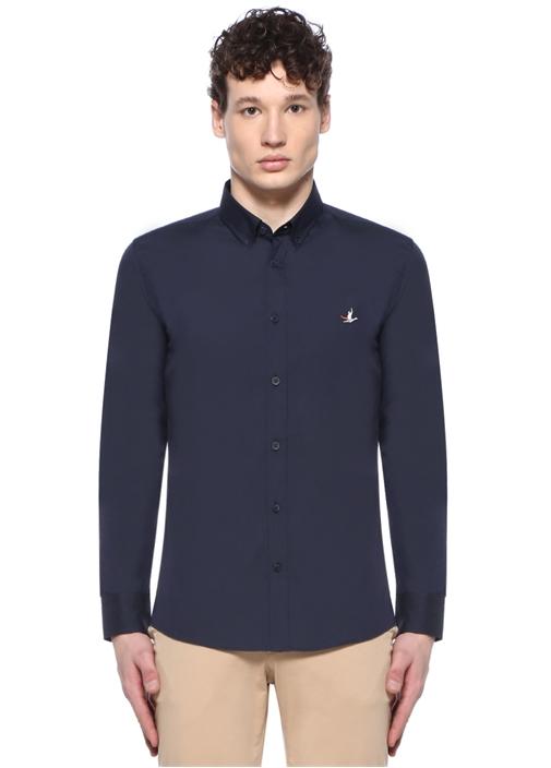Slim Fit Lacivert Düğmeli Yaka Kuş Logolu Gömlek