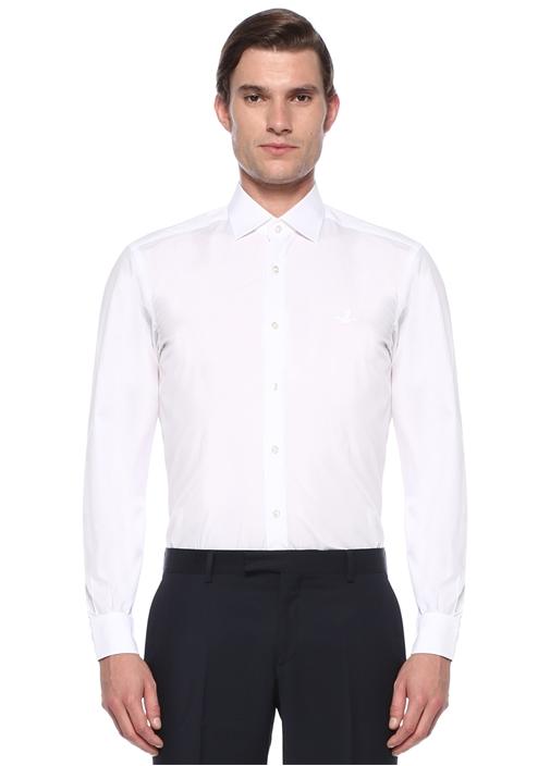 Comfort Fit Beyaz Modern Yaka Gömlek