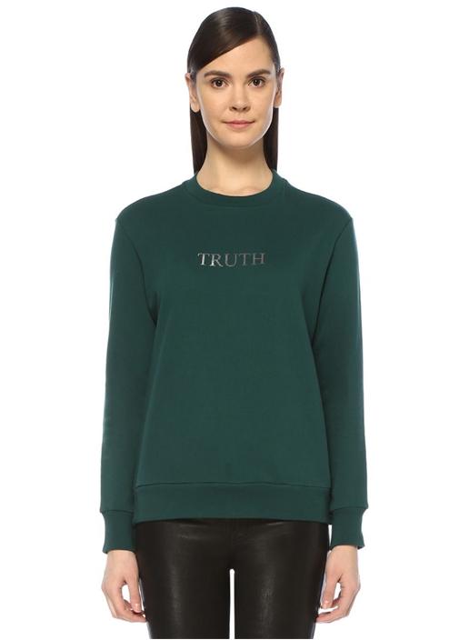 Truth Yeşil Gold Baskılı Reglan Kol Sweatshirt