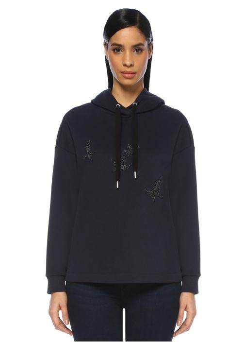 Lacivert Kapüşonlu Simli Kuş Nakışlı Sweatshirt