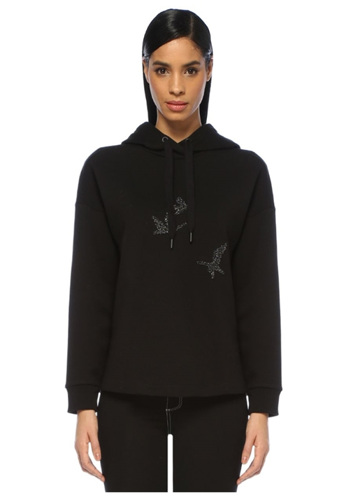 Siyah Kapüşonlu Logo Patchli Sweatshirt