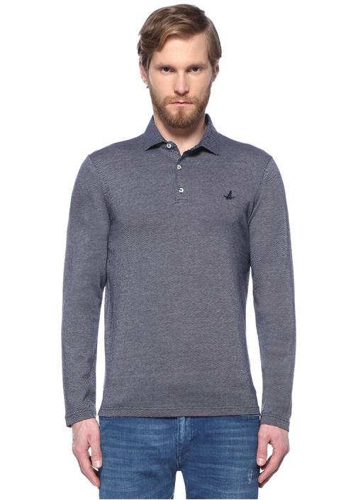 Comfort Fit Lacivert Dokulu Polo Yaka T-shirt