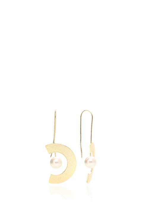 Gold İnci Detaylı Geometrik Formlu Kadın Küpe